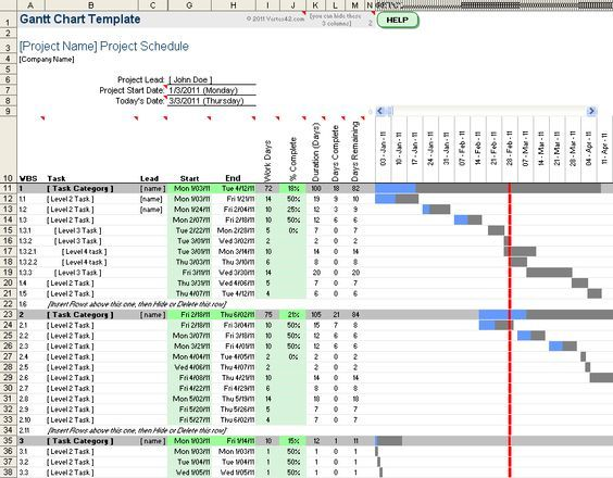 Free Gantt Chart Template for Excel Excel Pinterest - construction schedules templates