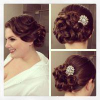Vintage side updo, vintage hairstyle, pin curls, bridal ...