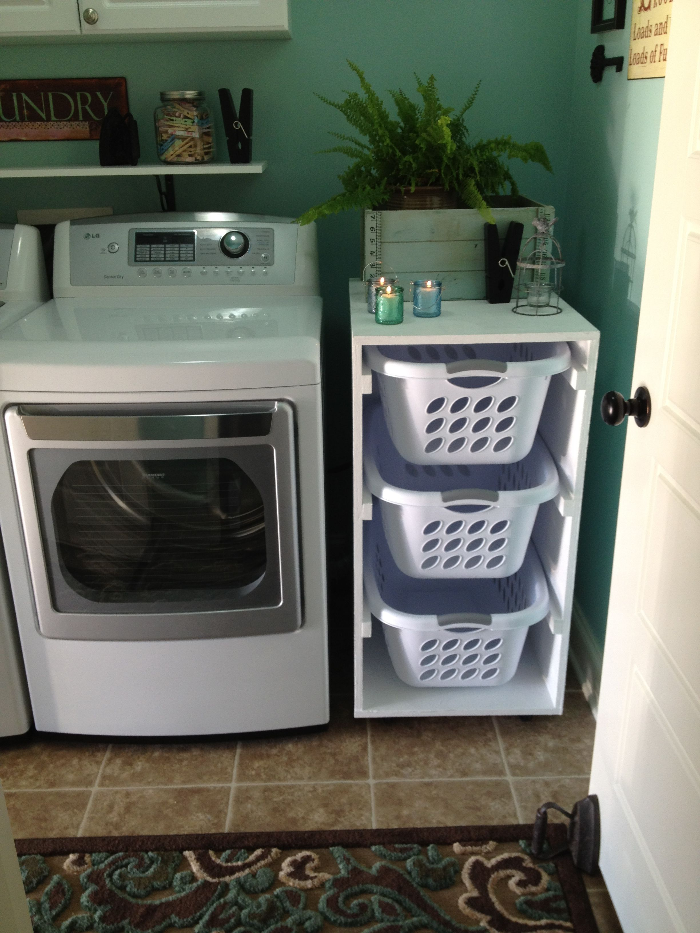 Laundry Basket With Shelves Laundry Basket Holder Next Project But Use One Shelf As