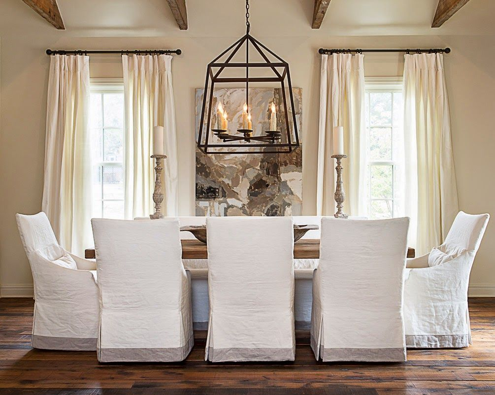 dining room chair slipcovers kitchen dining chairs Like the clean look of the white slipcovered dining chairs combined with the strength of the large black pendant light