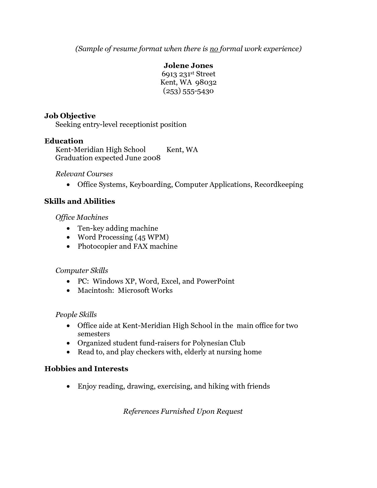 free resume template no job experience