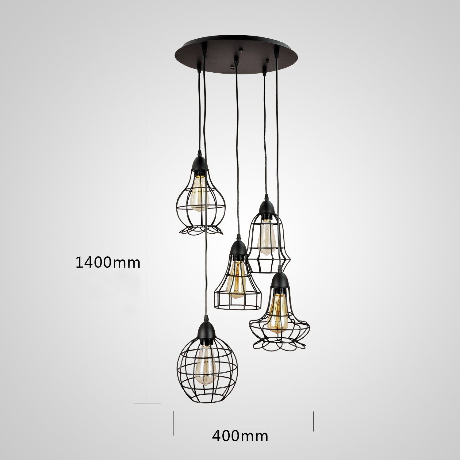 Suspension Luminaire Grand Diametre Grande Suspension Ou Lustre Vintage à 5 Ampoules En Cage