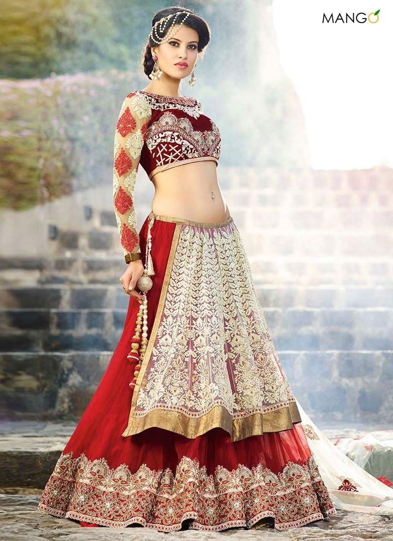 wedding lehenga Breathtaking Red Net Wedding Lehenga Choli