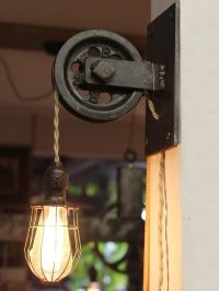 Rustic Farmhouse Pulley Pendant Light | Pulley light ...