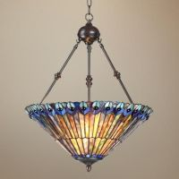 "Peacock Glass 3-Light 20"" Wide Tiffany Style Pendant Light ..."