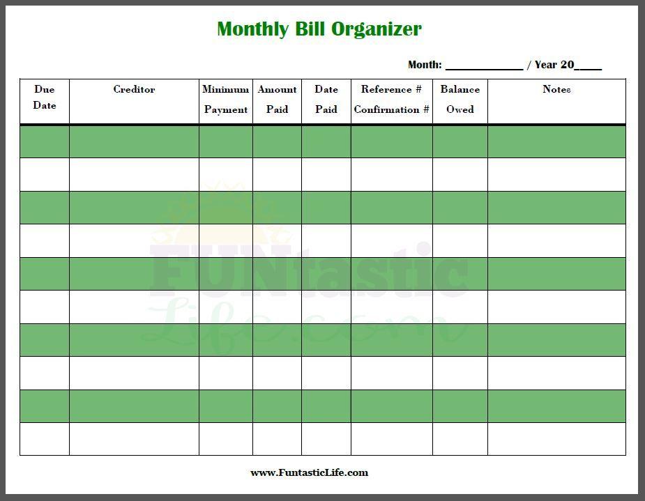 monthly bill organizer book