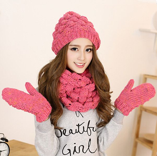 Pink beret hat scarf and gloves set for women knit winter