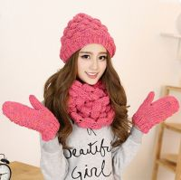 Pink beret hat scarf and gloves set for women knit winter ...