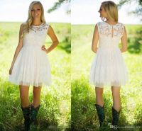 2017 Country Style Ivory Lace Short Bridesmaid Dresses ...