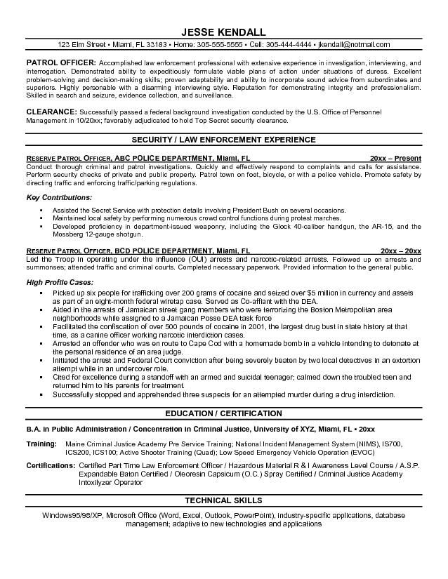 security officer resume objective httpjobresumesample709 security - Police Officer Sample Resume