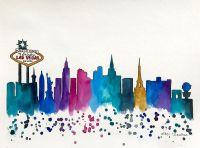 Las Vegas Skyline, Original Watercolor Painting ...