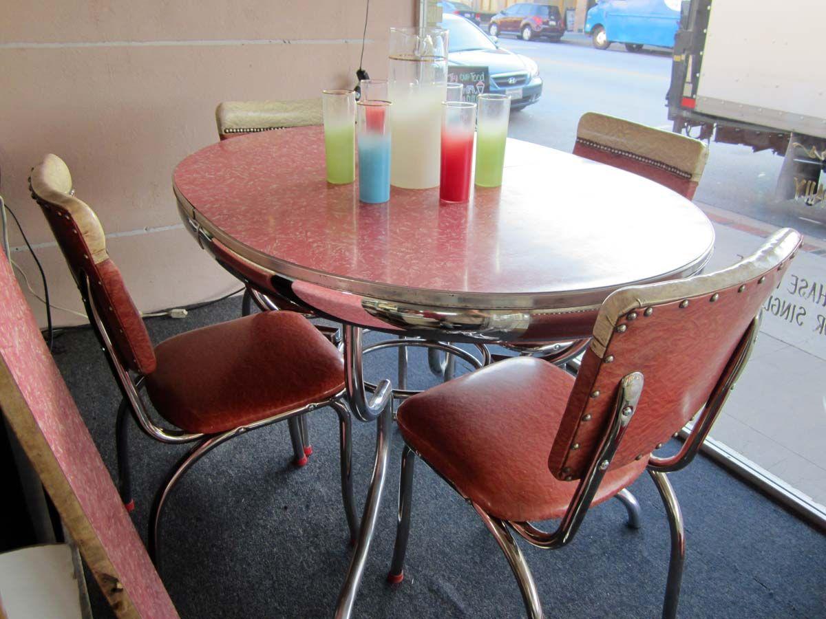 vintage kitchen tables vintage kitchen tables Vintage Chrome Dinette Set sweet pink seating