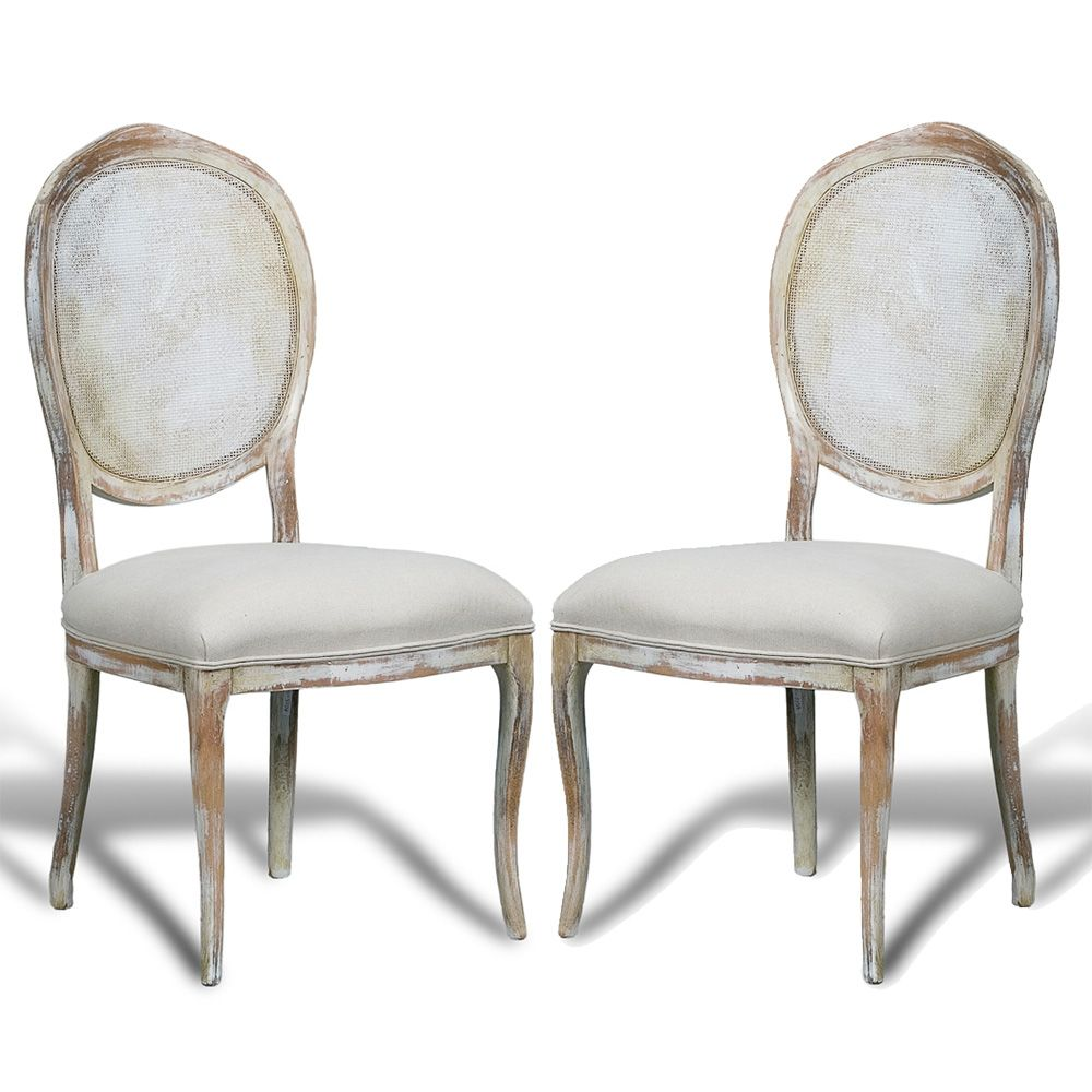 French Country Cane Round Back Chairs