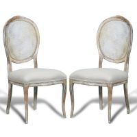 French Country Cane Round Back Chairs - distressed white 7 ...