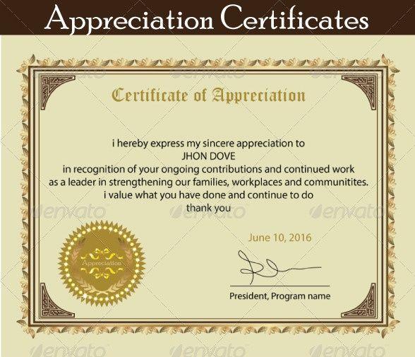 Printable Certificate of Appreciation Template Certificate of - sample certificate of appreciation
