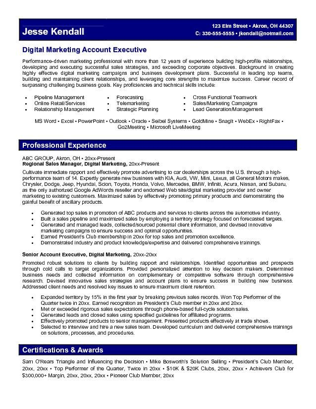 Marketing Account Executive Resume Learn more about video - marketing director resume sample