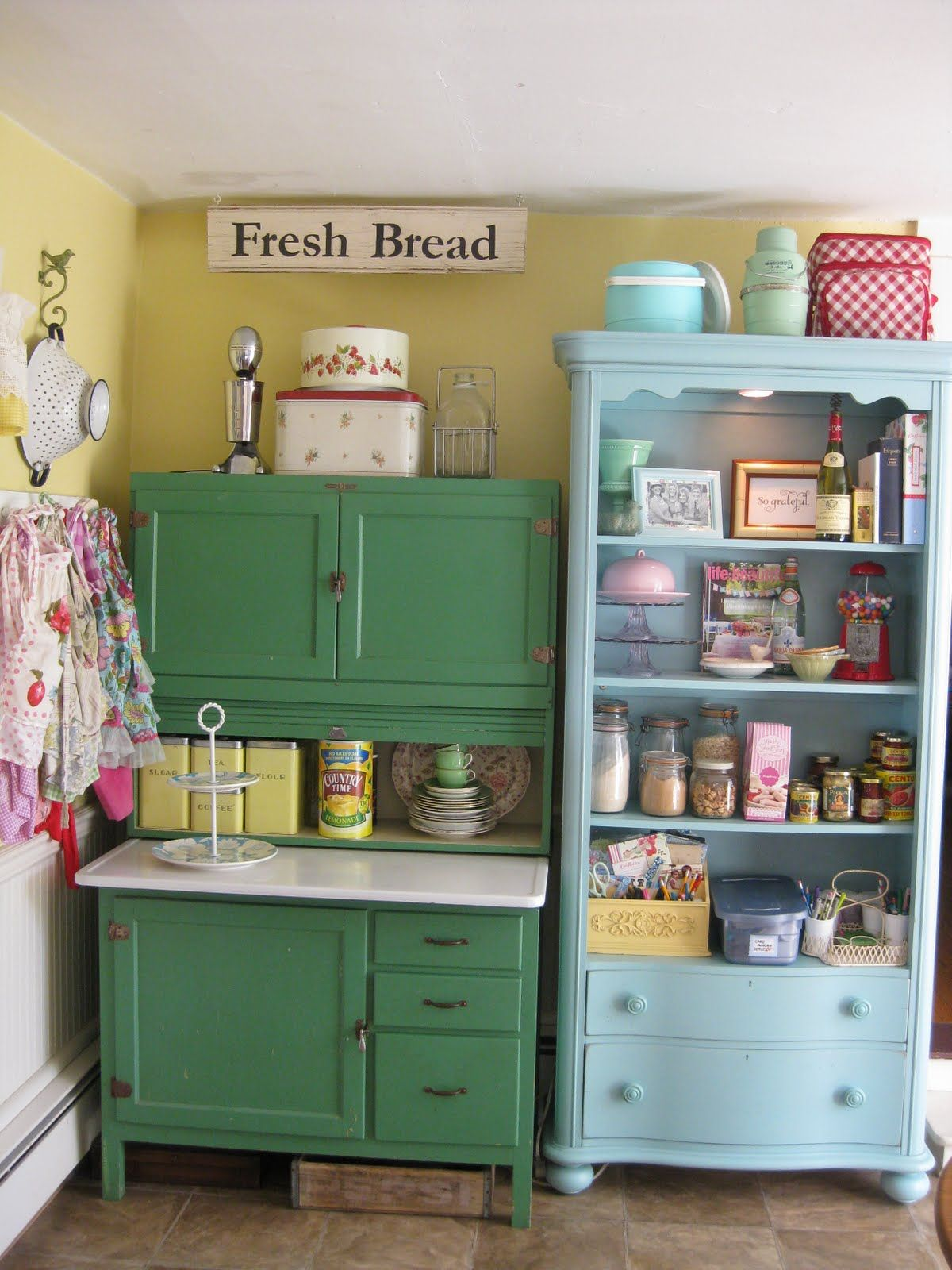vintage kitchen lighting Scenic Green And Blue Vintage Kitchen Cabinet Storage Also Open Racks As Inspiring Vintage Kitchen Furnishings