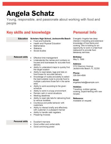 Food industry position - Free Resume Template by Hloom - resume templates for highschool students