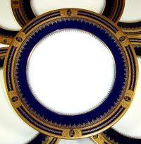 Set of 6 French Limoges Porcelain Cobalt & Gold Encrusted ...