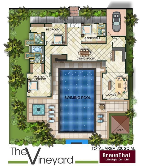 u shaped bungalow floor plan with pool - Google Search For the - bungalow floor plans