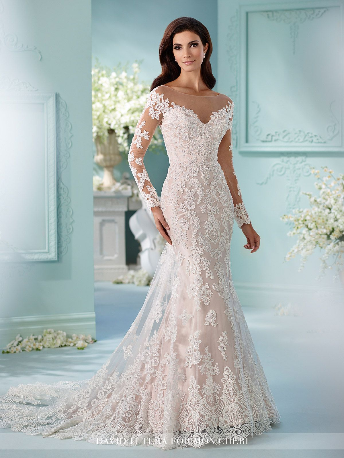 wedding dress long sleeve Tulle over satin fit and flare cage dress with hand beaded Alencon lace appliques Sleeve Wedding