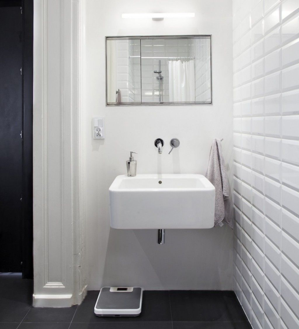 Scandinavian Floor Tiles Scandinavian Compact Bathroom Design With White Floating