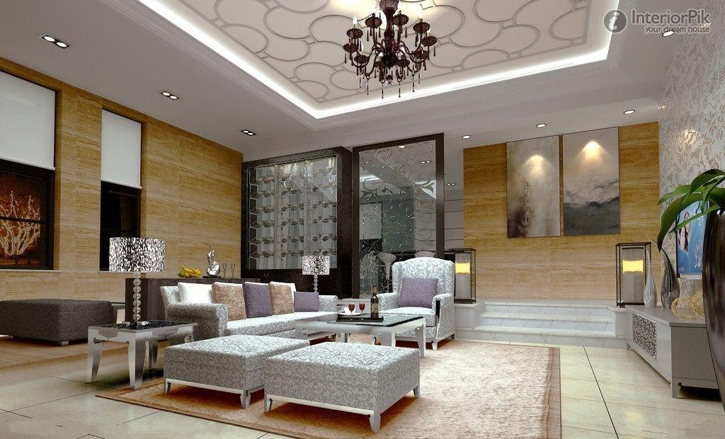 Simple European ceiling decoration living room effect chart - decoration living room