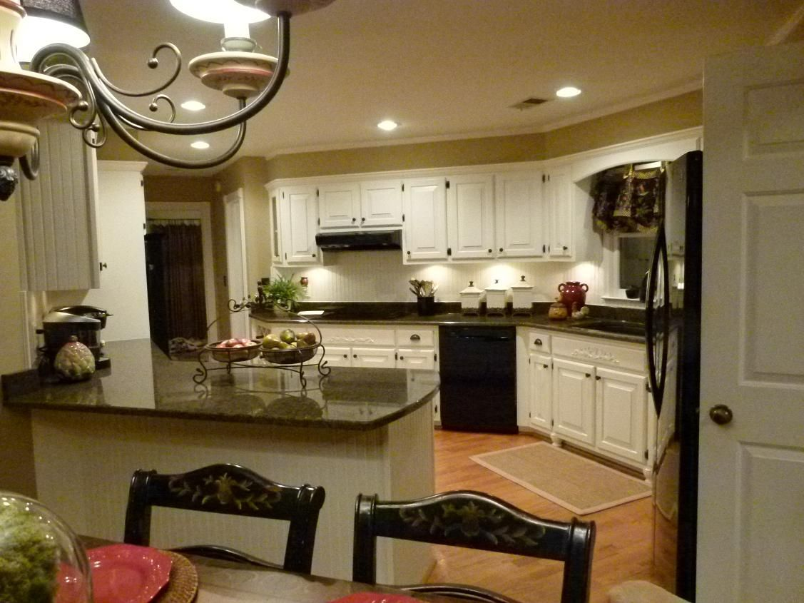 Black Kitchen Cabinets What Color On Wall Remodel Complete Tropic Brown Granite Dover White