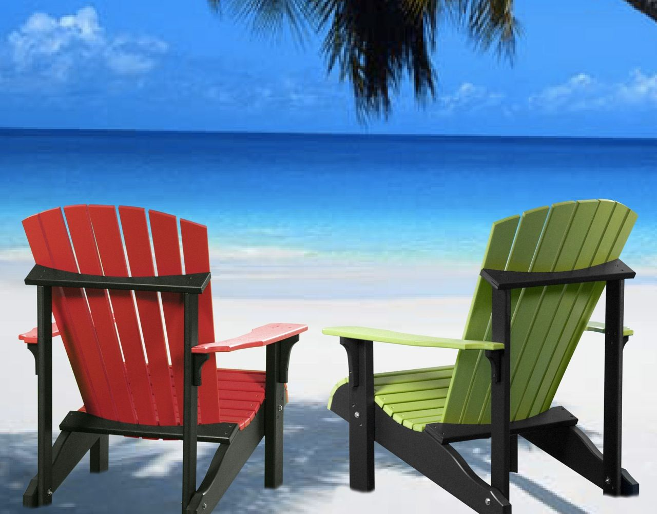Deluxe adirondack chairs on beach