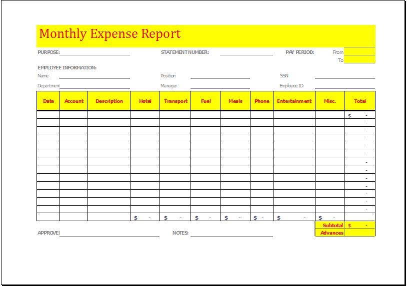 Monthly Expense Report Template DOWNLOAD at http\/\/www - expense report template