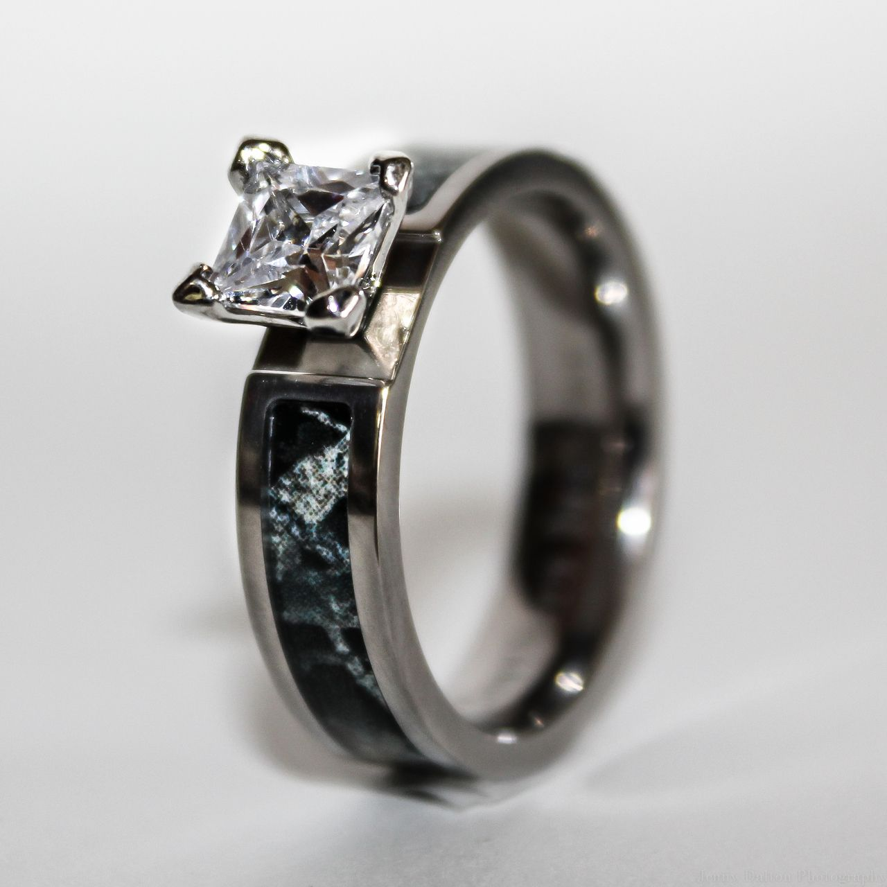 camo wedding rings Black Camo Wedding Engagement Ring Titanium with CZ Stone