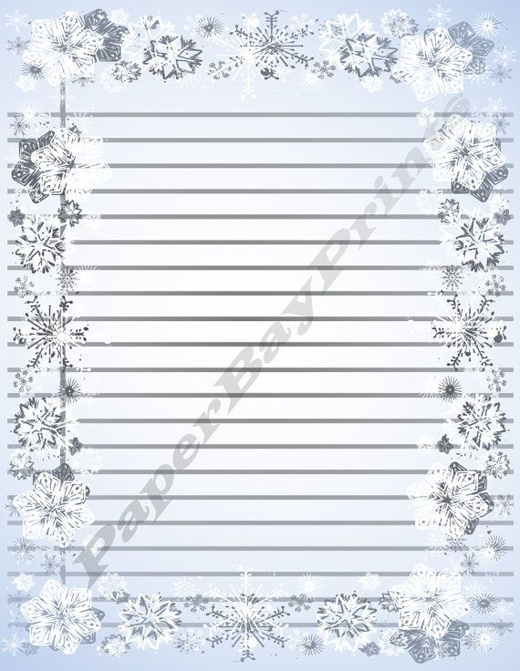 Printable Lined Paper With Snowflake Border by PaperBayPrints - lined border paper