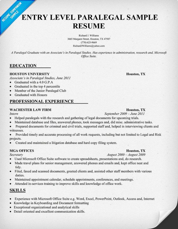 Entry Level Paralegal Resume Sample (resumecompanion) #Law - student resume examples no experience