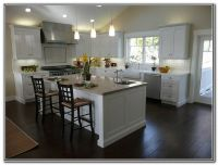 White Shaker Kitchen Cabinets Dark Wood Floors
