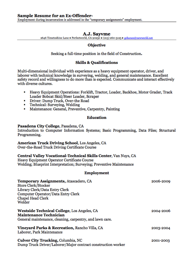 resume examples for ex offenders