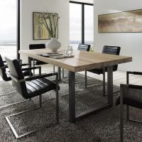 Textured up close Treviso Solid Oak & Metal Dining Table ...