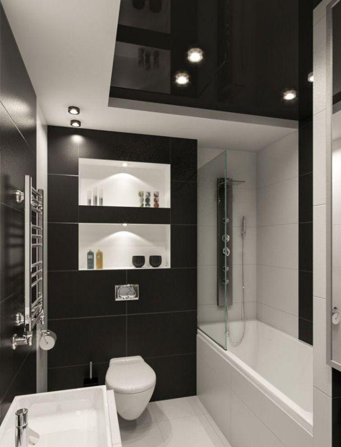 kleines-badezimmer-fliesen-ideen-schwarz-weiss-kombination-matt - kleines badezimmer fliesen ideen