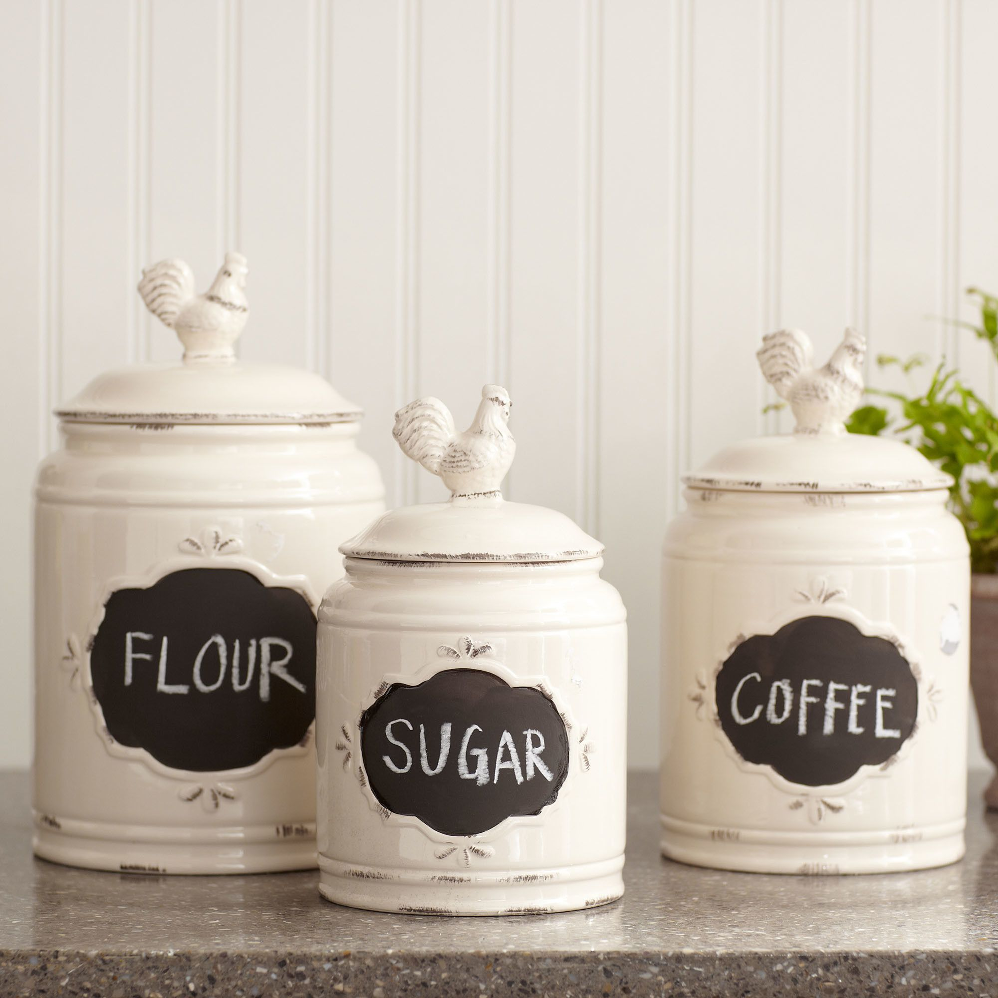 Attractive kitchen of charming interior design for home remodeling with country canisters for kitchen
