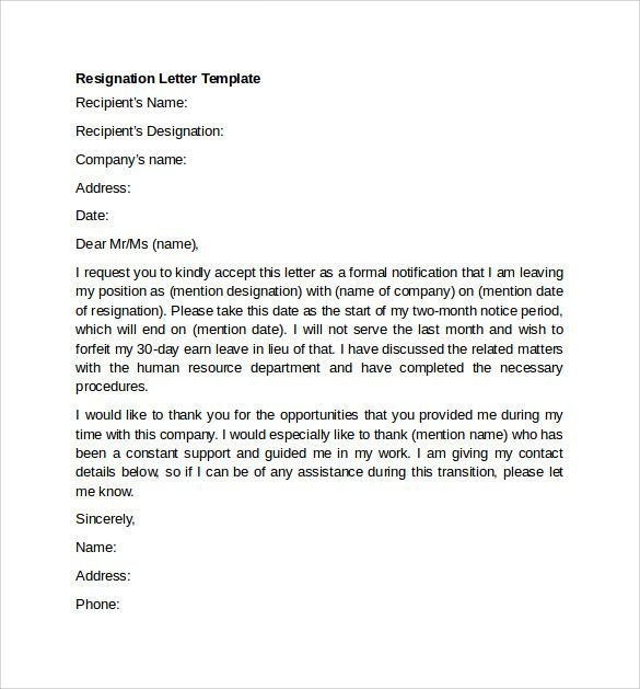 Image result for resignation letter examples Work related - resignation letter format tips
