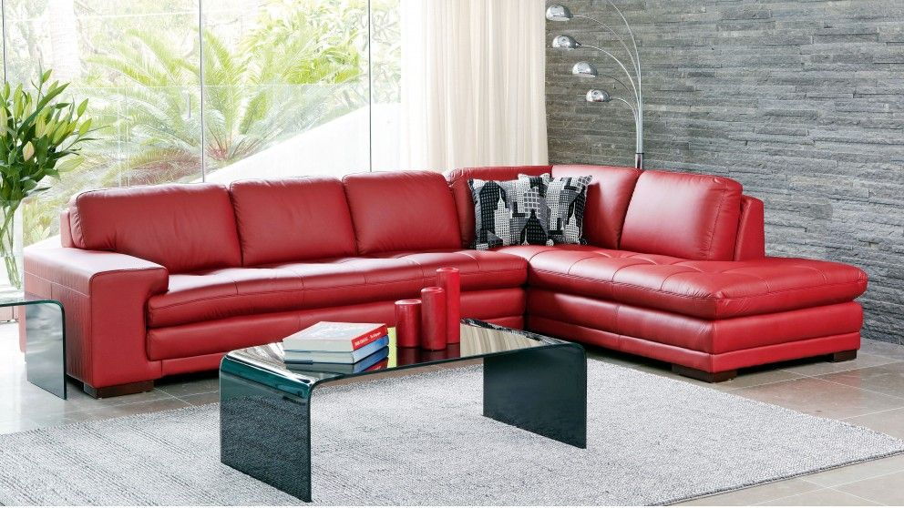 Dylan 3 Seater Leather Sofa with Chaise - Lounges - Living Room - living room chaise lounge