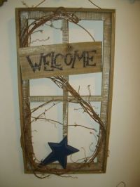 PriMiTiVe Country Rustic BARNWOOD WINDOW FRAME Blue Star ...
