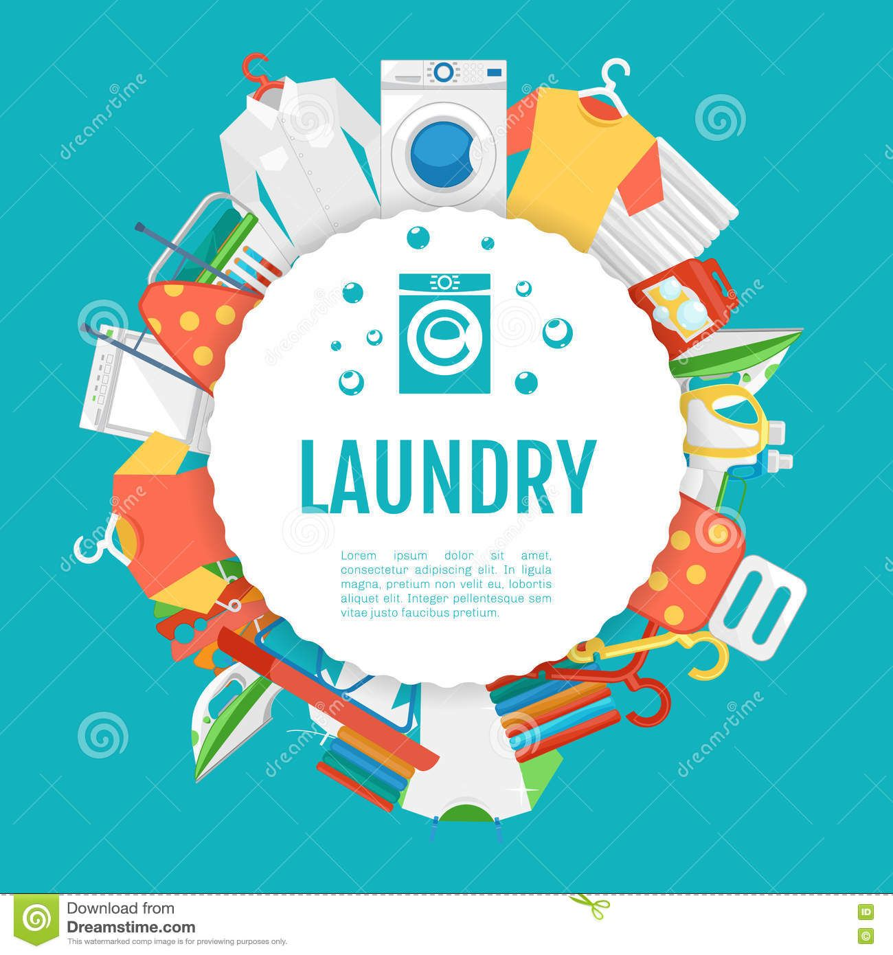 Laundry service poster design icons circle label with text download from over 53 million