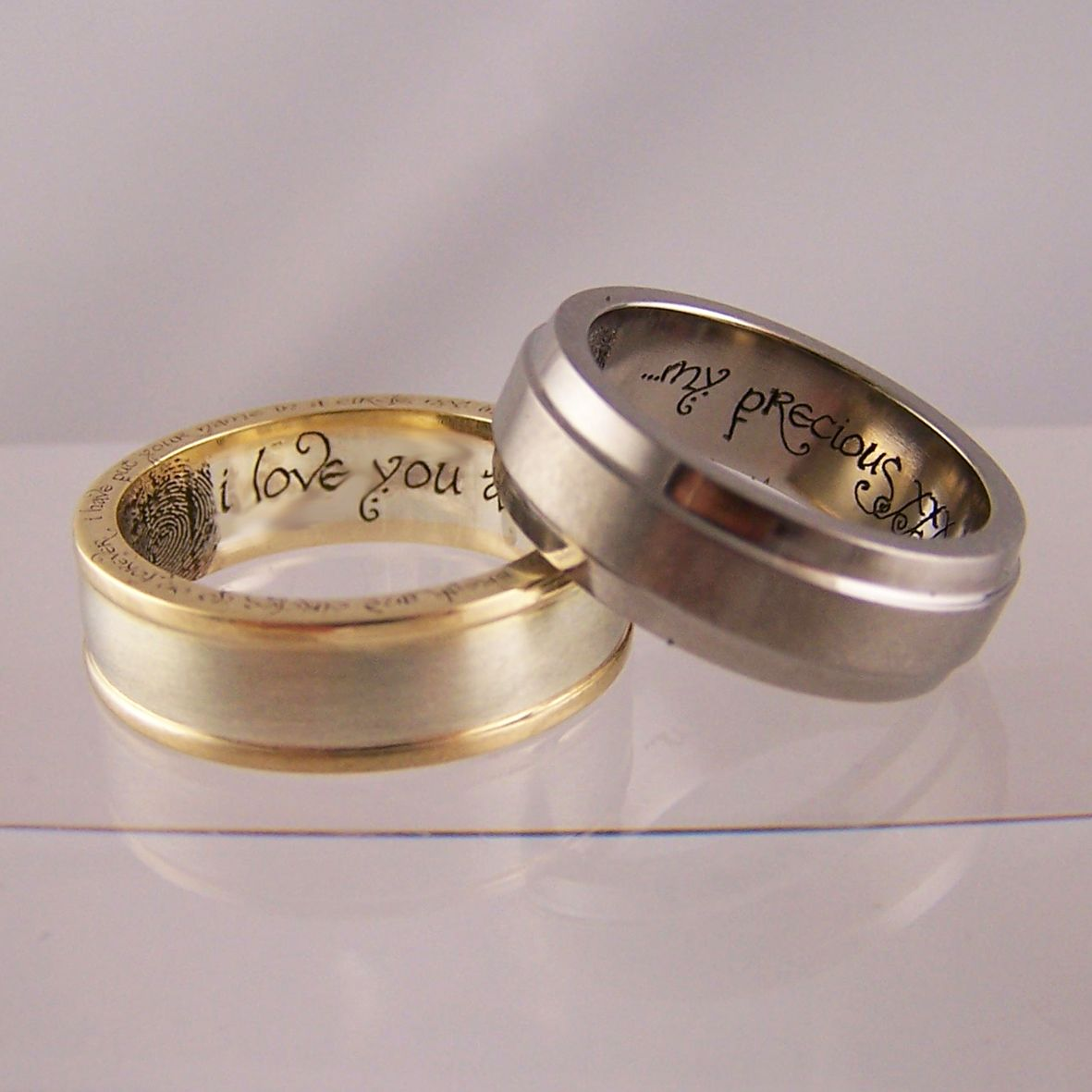 star wars wedding bands Lord of the Rings inspired wedding rings with Bilbo Baggins handwriting font couples fingerprints