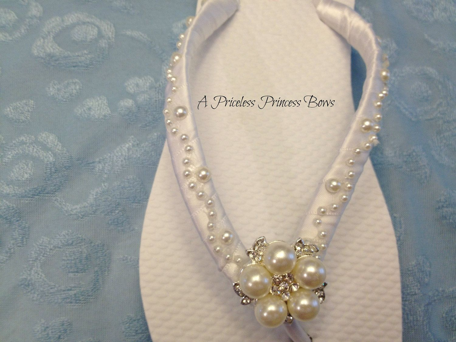 wedding sandals for bride Bride Flip Flops Pearl Flip Flops Bridal Flip Flops Wedding Sandals Bridal Sandals Bride Beach Shoes Custom Colors Available