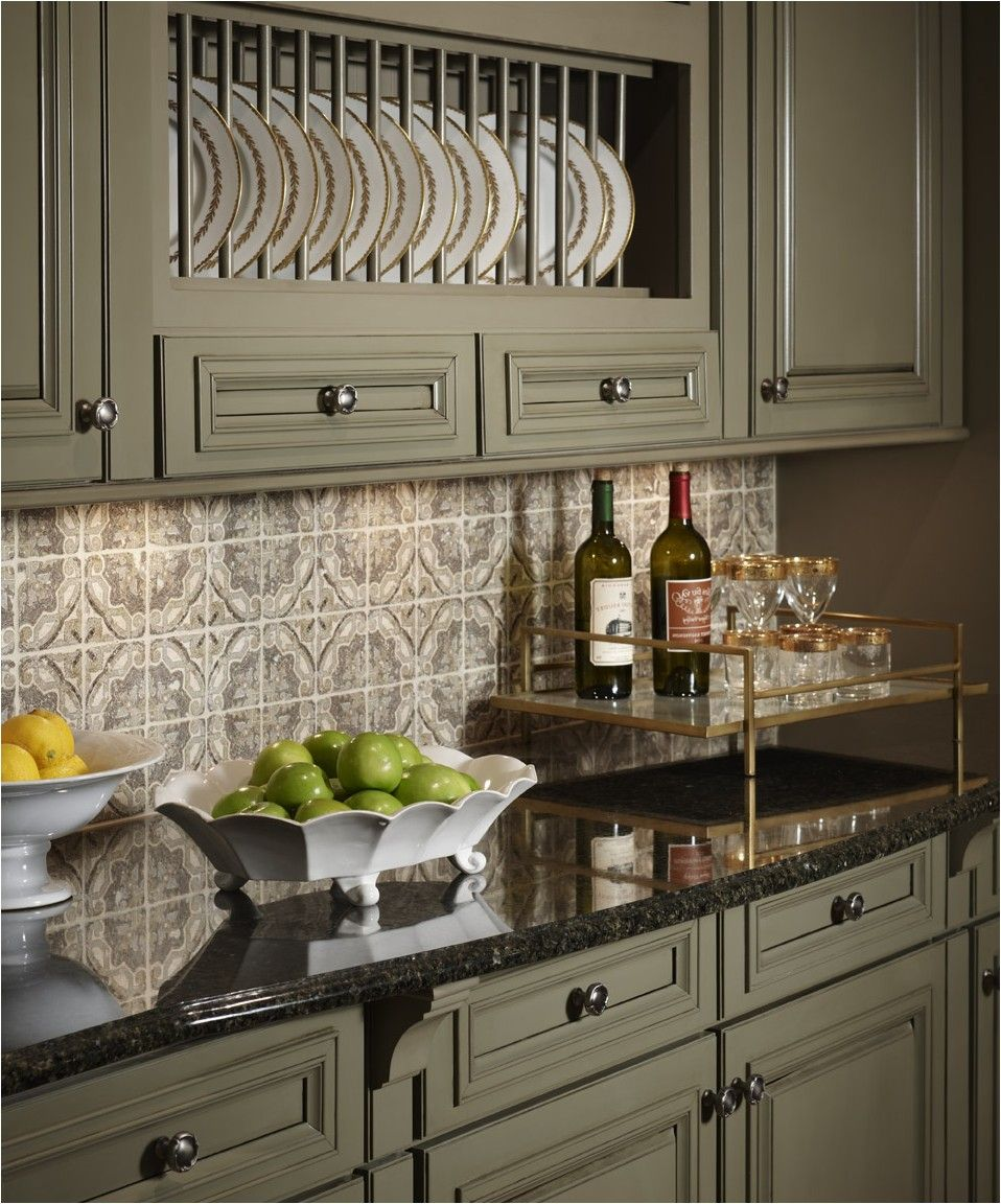 green kitchen countertops Kitchen Kitchen Sage Green Painted Cabinets Black Granite Countertops Glossy Pattern Tile Backsplash Beautiful Green