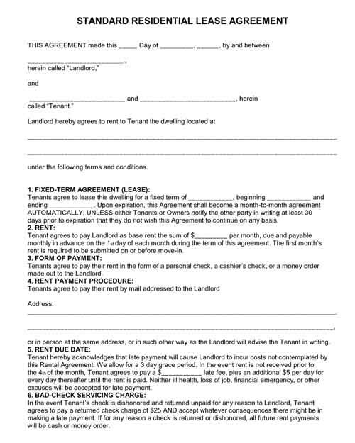 free printable residential lease agreements