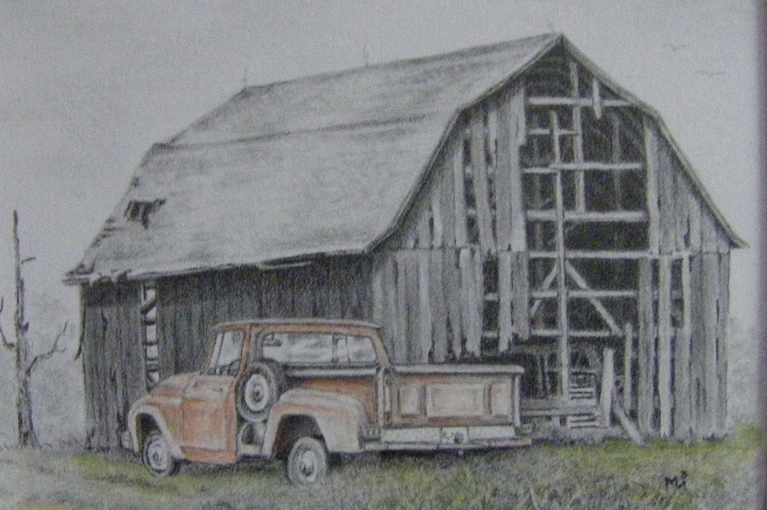 Red Farmhouse Drawing Old Farm Scenes Old Barn Art Illustration Original