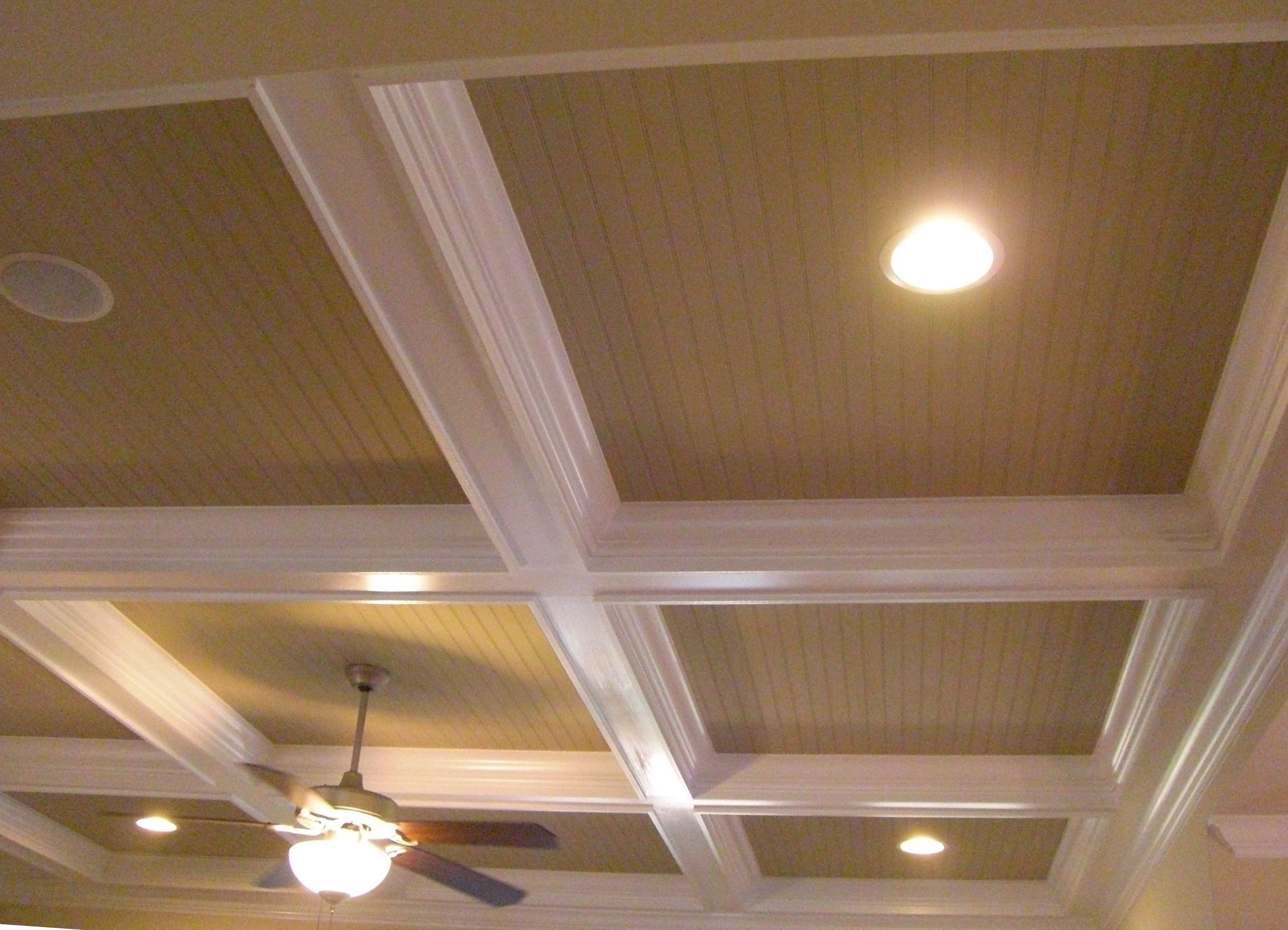 Decorative Ceiling Discs Beadboard In Coffered Ceiling Lights And Built In