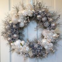 Silver White Christmas Wreath, Winter Holiday Decoration ...