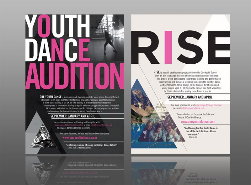 leaflet design for one youth dance with a classy, contemporary - contemporary flyer